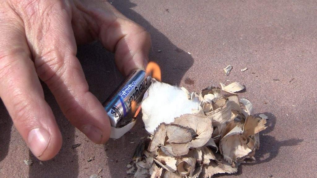 battery gum wrapper fire starter