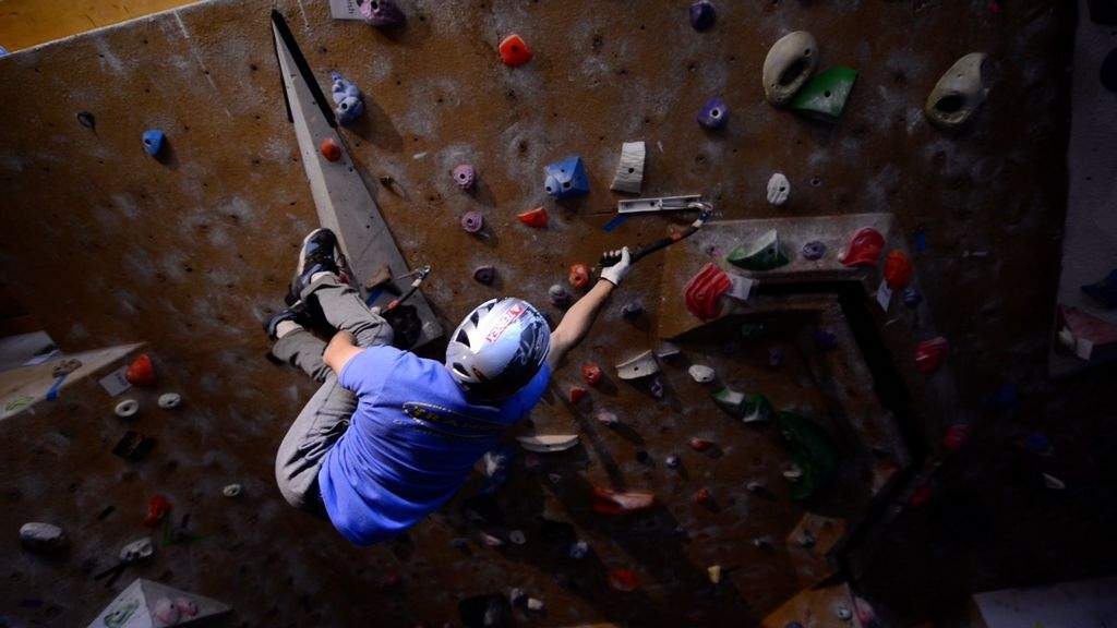 Marcus Garcia climbing
