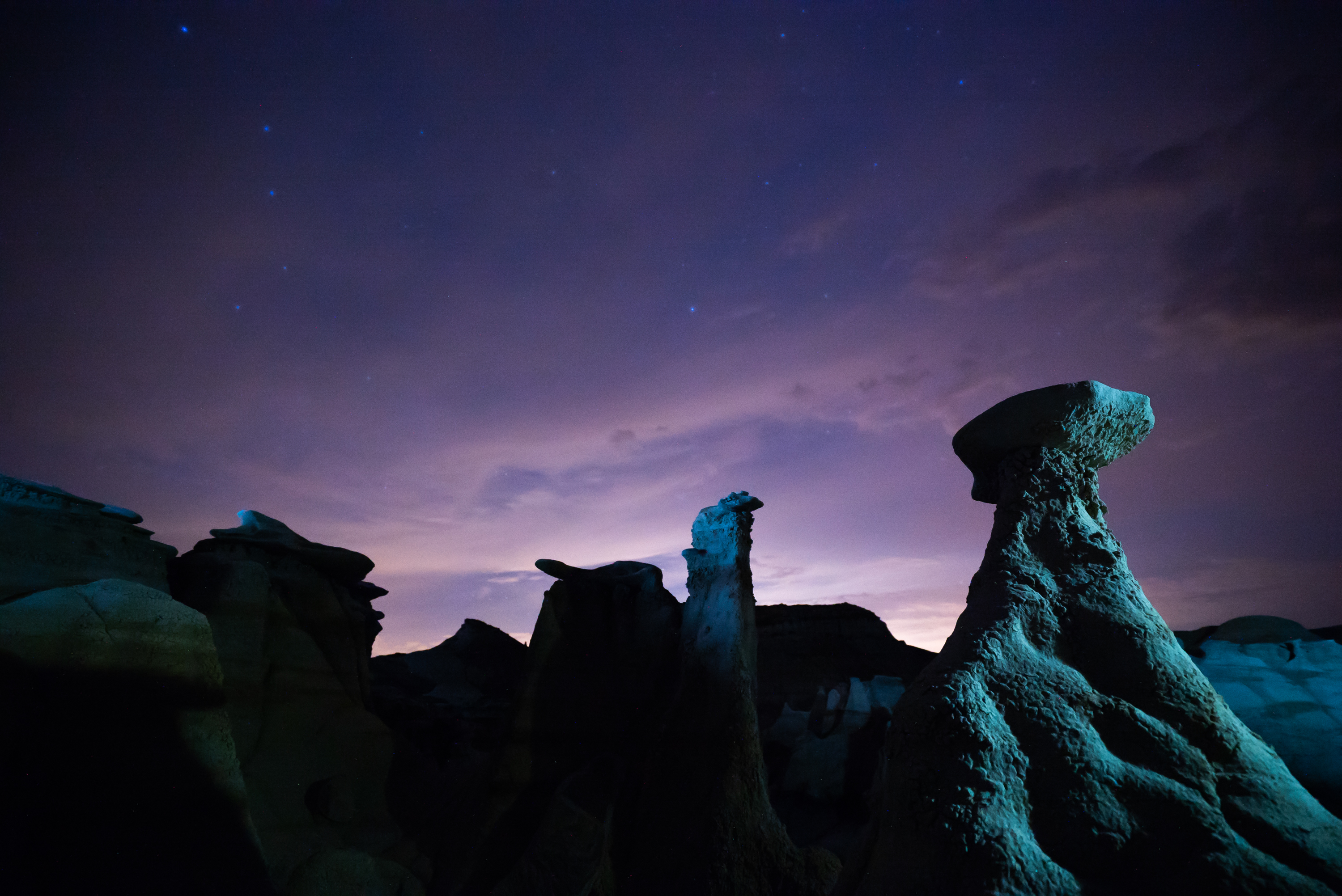 night photography bisti badlands
