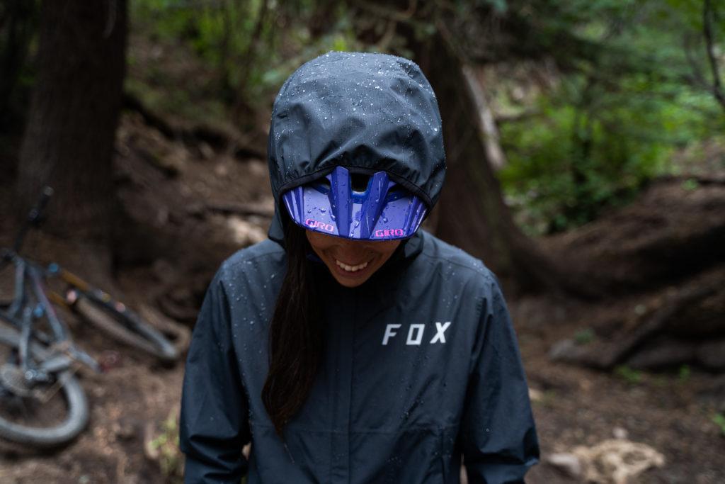 fox women's ranger rain jacket front mountain bike helmet compatible hood