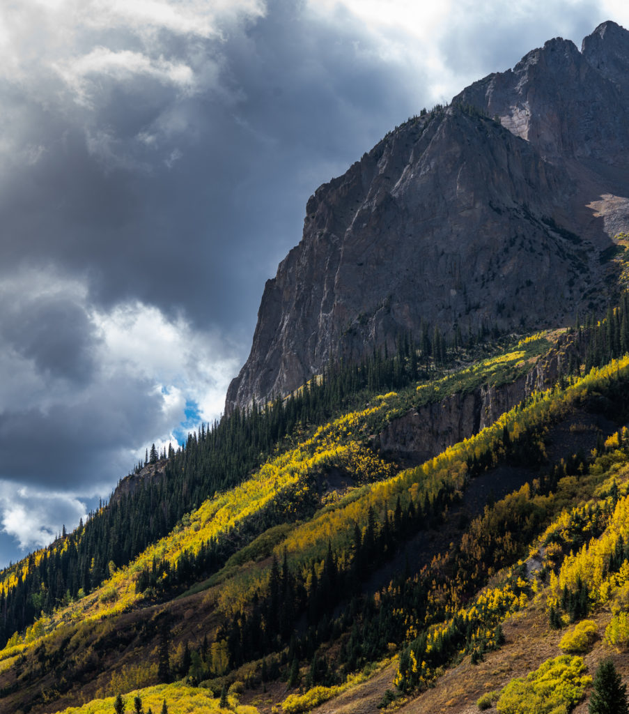 aspens lighting clouds crested butte colorado fall colors