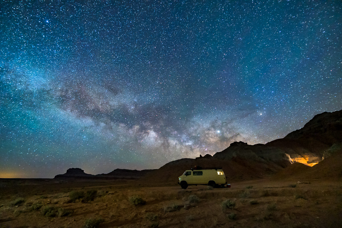 van life milky way goblin valley utah