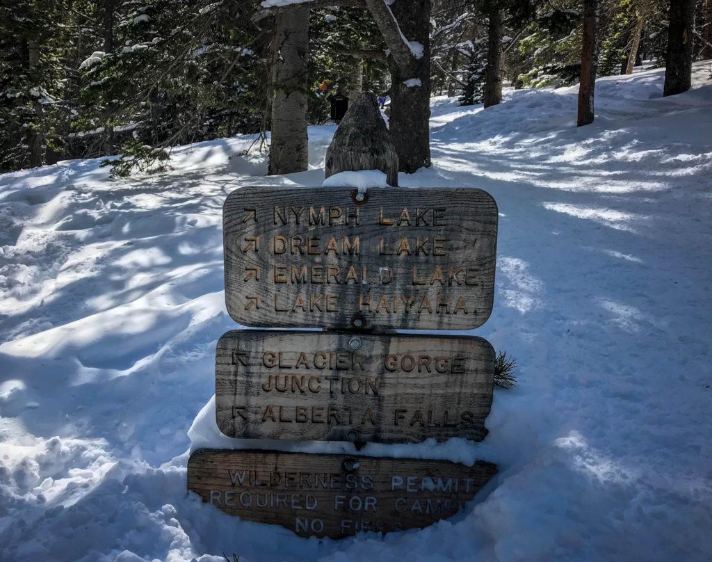 rocky mountain bristlecone pine trail sign rocky mountain national park bear lake