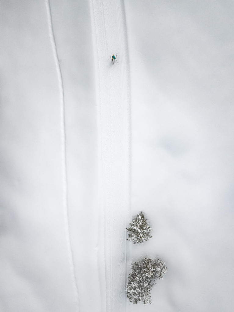 behind the lens winter drone photography ski mountaineering