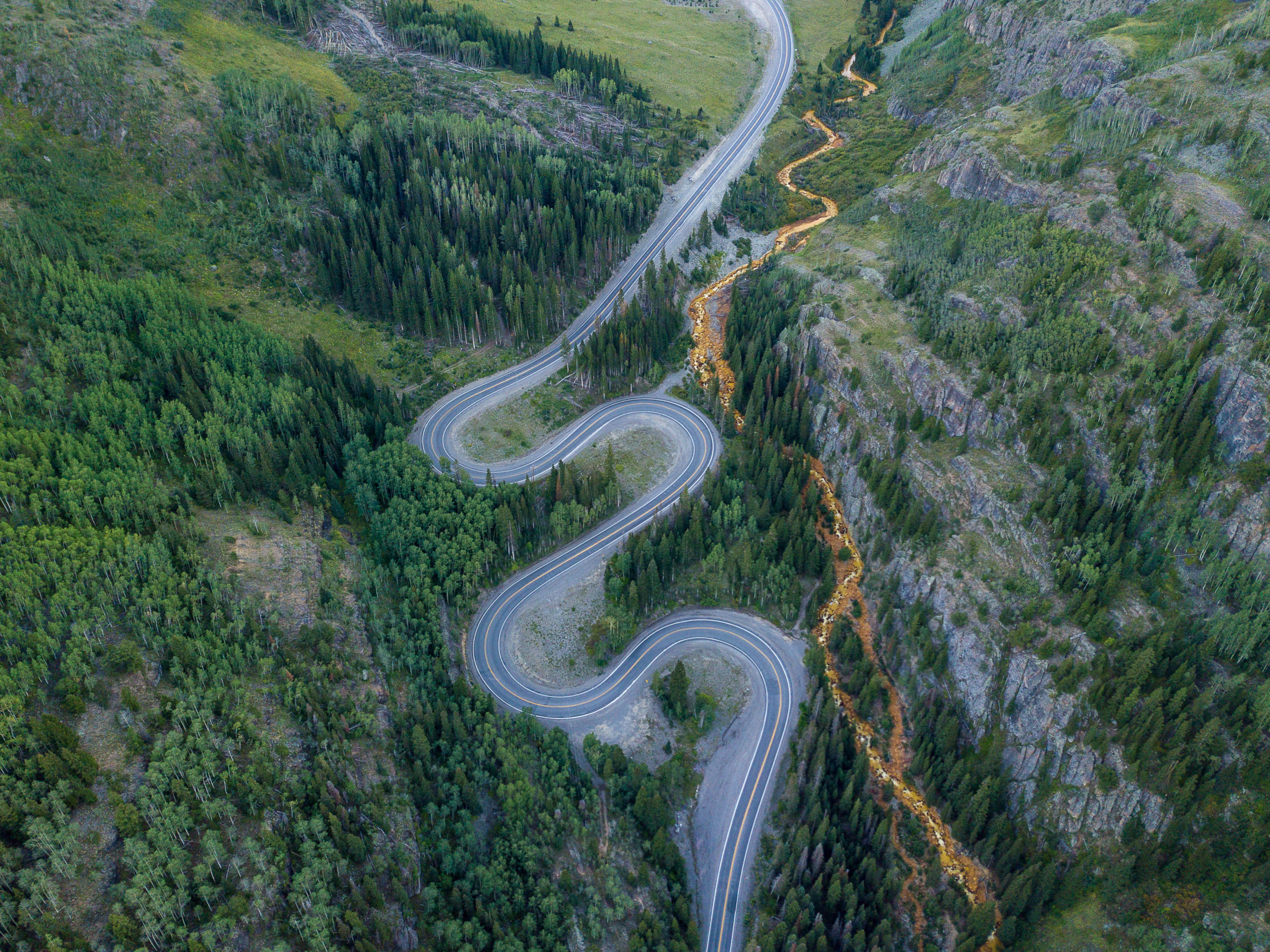 aerial photography highway 550 switchbacks colorado