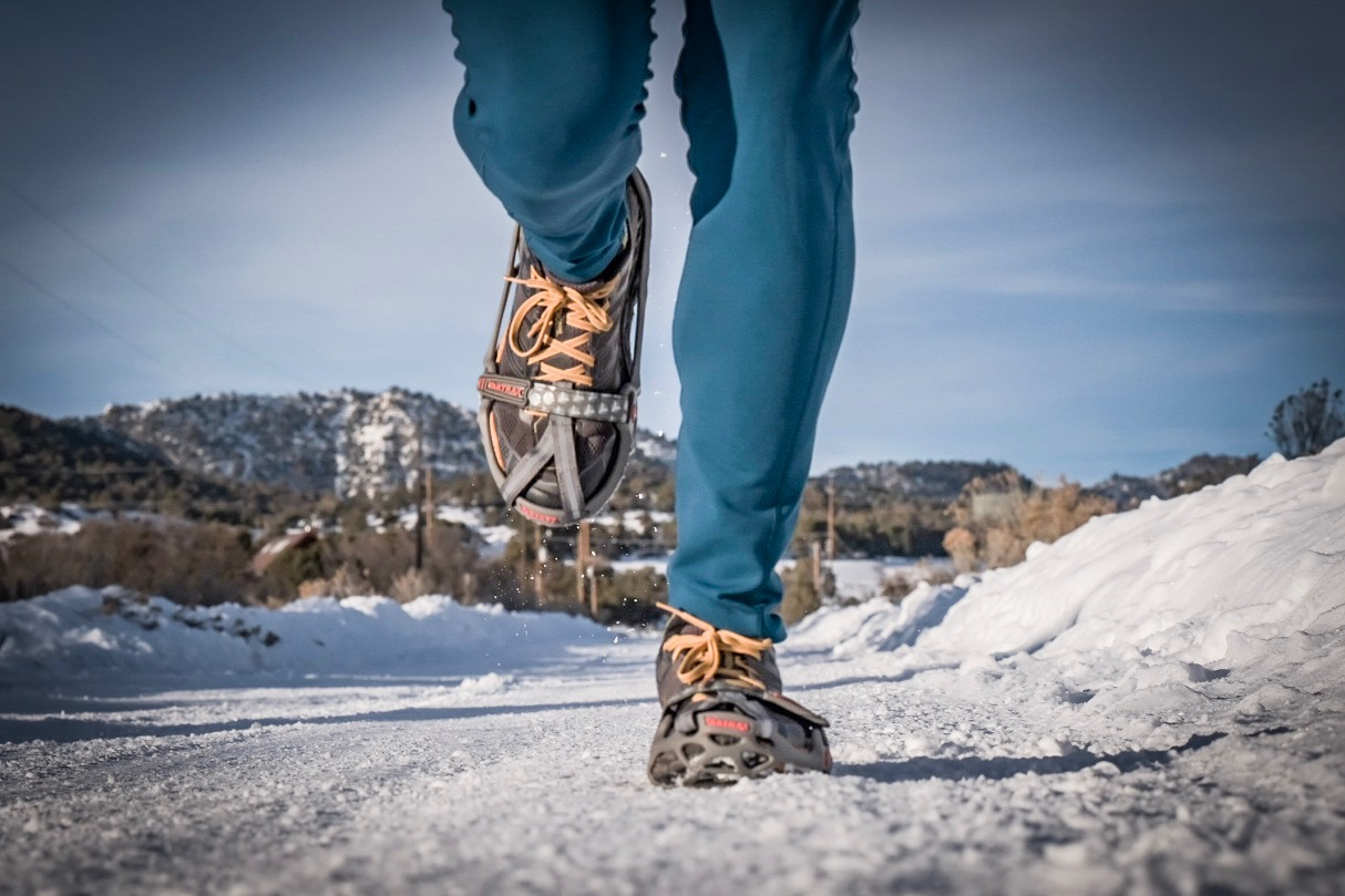 Winter running with Yaktrax Run traction devices.