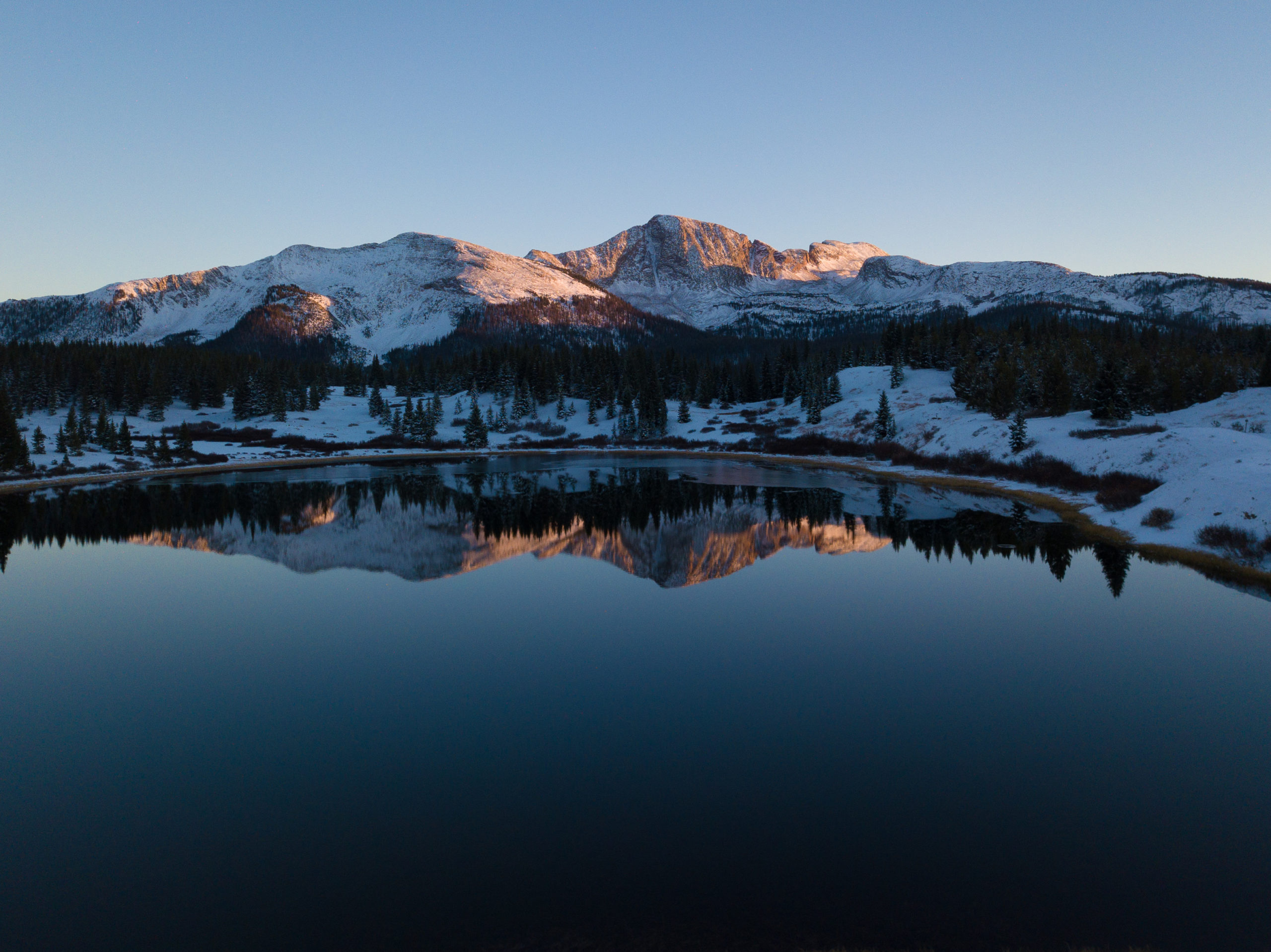 behind the lens winter drone photography little molas lake