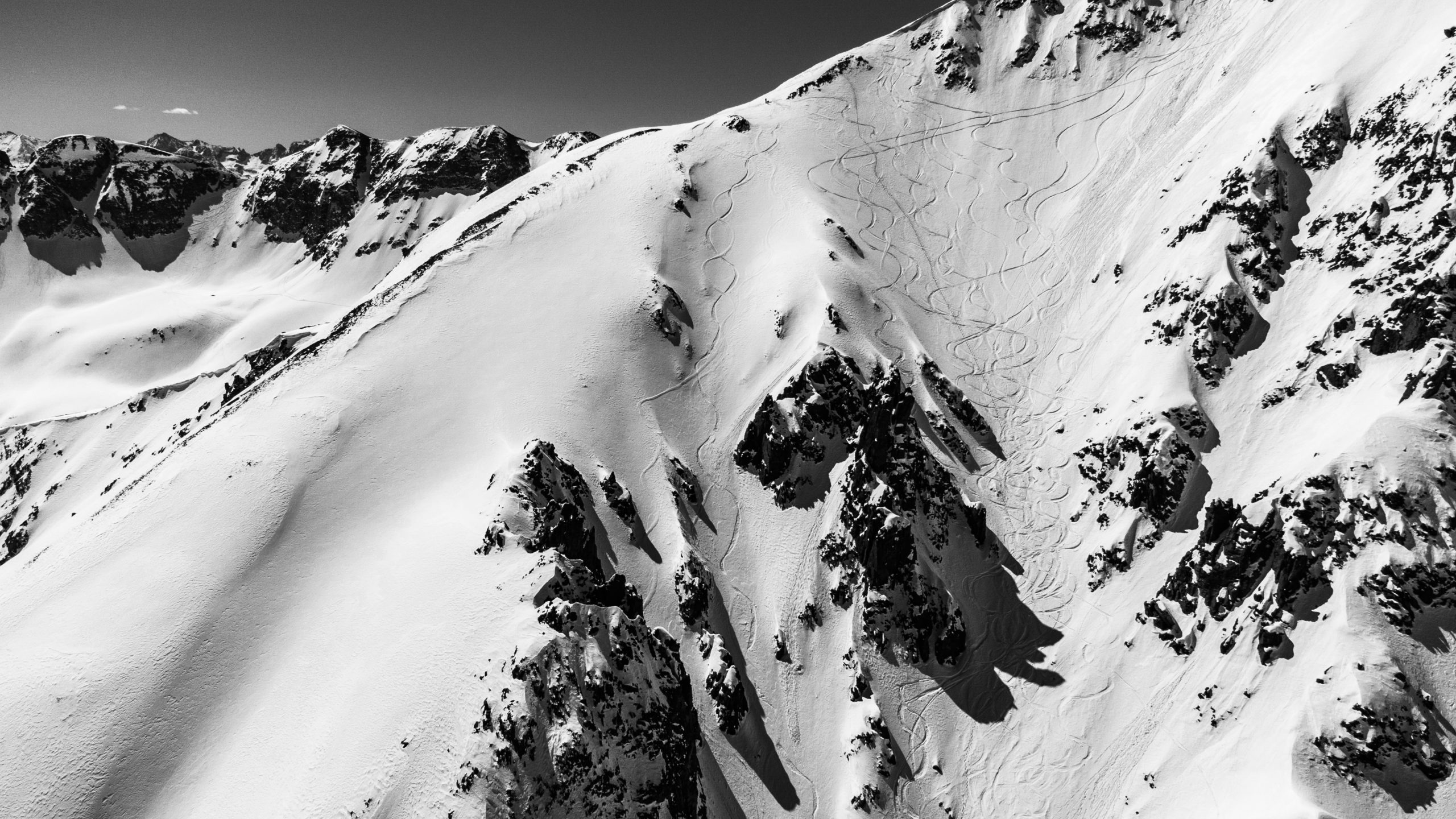 backcountry skiing black and white
